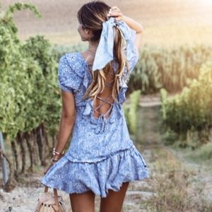 Spell & The Gypsy Collective Dresses - Celestial Mini Play Dresses in Flame + Chambray